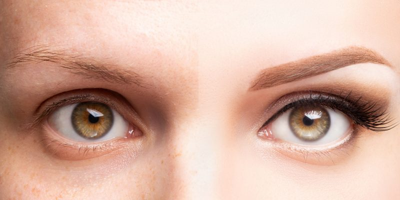 Female eyes before and after beautiful makeup, eyelash extension, eyebrow liner, microblading, cosmetology procedure, retouch.